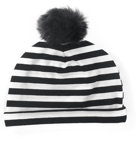 Baby Bling Black & White Stripe Fur Pom Beanie - Basically Bows & Bowties