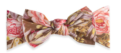 Baby Bling  Gold Leaf Peony Printed Knot Headband