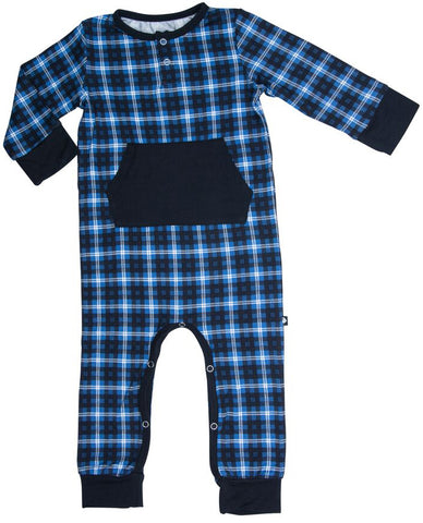Sweet Bamboo Blue Plaid Romper