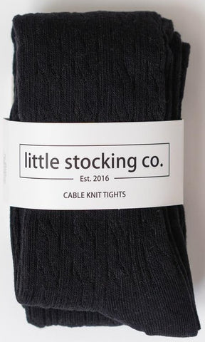 Little Stocking Co Black Cable Knit Tights