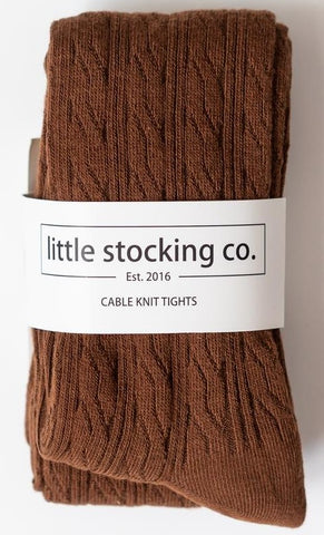 Little Stocking Co Chocolate Cable Knit Tights