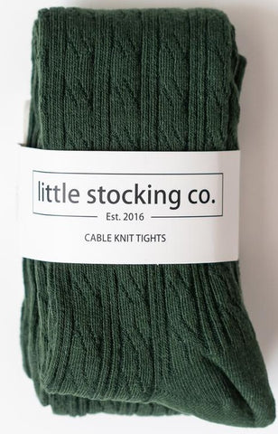 Little Stocking Co Forest Green Cable Knit Tights