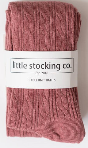 Little Stocking Co Mauve Cable Knit Tights