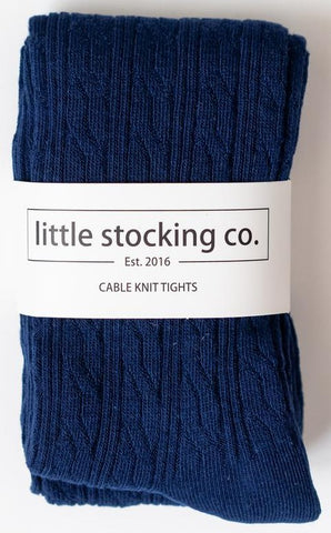 Little Stocking Co Navy Cable Knit Tights