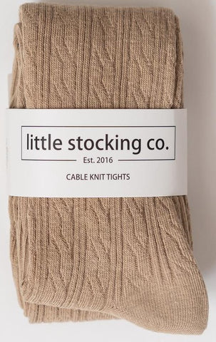 Little Stocking Co Oat Cable Knit Tights