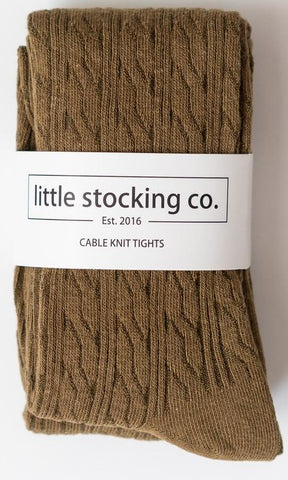Little Stocking Co Olive Cable Knit Tights
