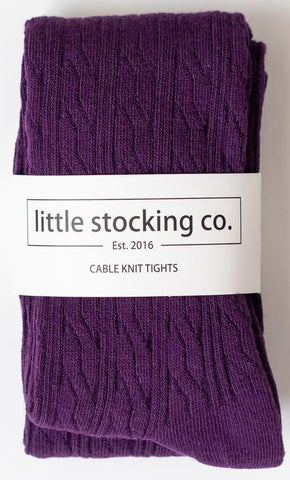 Little Stocking Co Plum Cable Knit Tights