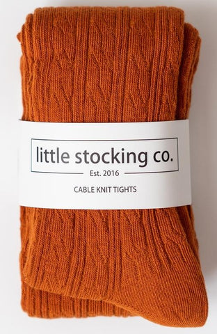 Little Stocking Co  Pumpkin Spice Cable Knit Tights