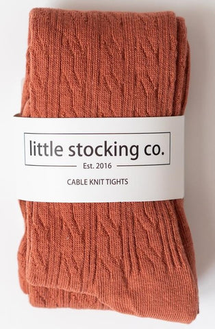 Little Stocking Co Rust Cable Knit Tights