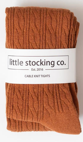 Little Stocking Co Cable Knit Tights - Sugar Almond