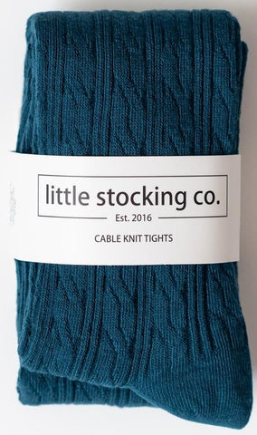 Little Stocking Co Deep Teal Cable Knit Tights