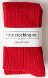 Little Stocking Co True Red Cable Knit Tights