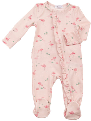 Angel Dear Flamingos Ruffle Front Zipper Footie