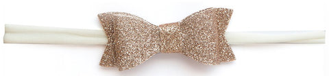 Baby Bling Glitter Bow Tie Skinny Headband-Gold - Basically Bows & Bowties