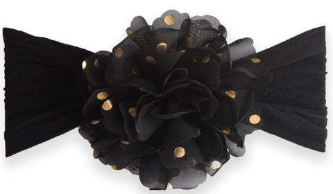 Baby Bling Gold Dot Flower Headband-Black - Basically Bows & Bowties