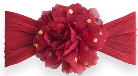 Baby Bling Gold Dot Flower Headband-Red - Basically Bows & Bowties