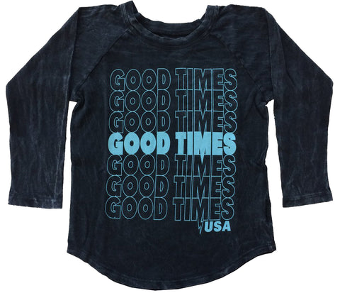 Tiny Whales Mineral Black Good Times USA Raglan