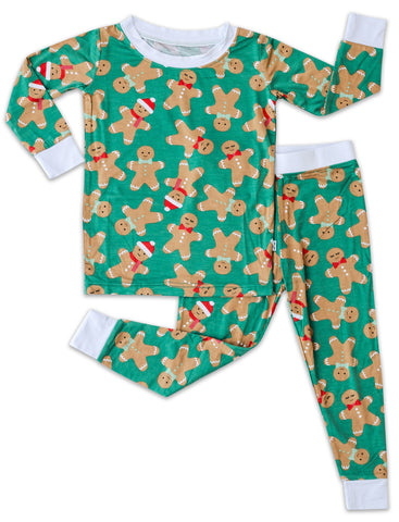 Little Sleepies Green Gingerbread Bamboo 2pc Pajama Set