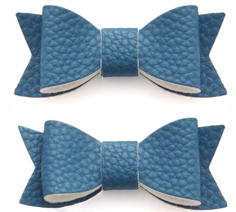 Baby Bling Leather Bow Tie Clip Set-Denim - Basically Bows & Bowties