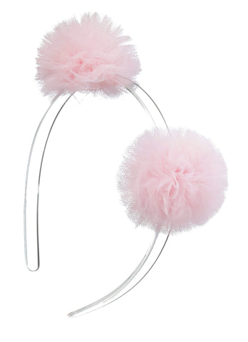 Lilies & Roses Light Pink Tulle Pom Pom Headband Basically Bows & Bowties