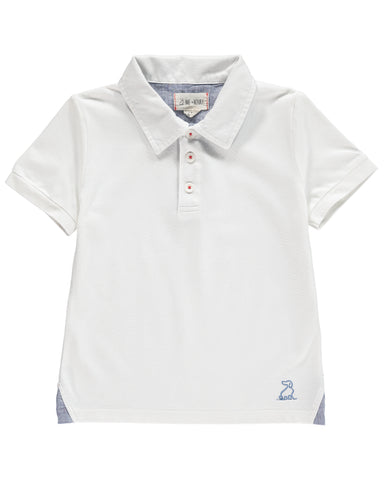 Me and Henry White Polo Short Sleeve Shirt
