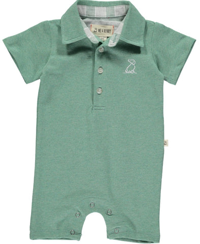 Me & Henry Green Cotton Pique Polo Romper