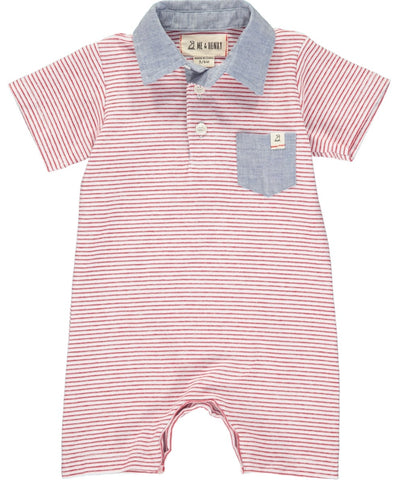 Me & Henry Red Stripe Polo Romper