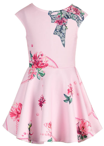 Hannah Banana Pink Jeweled Skater Dress