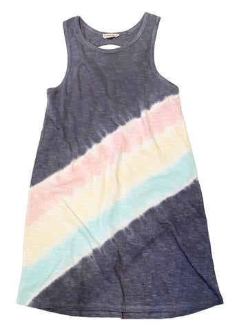 Paper Flower Tie Dye Twist Back Navy Dress
