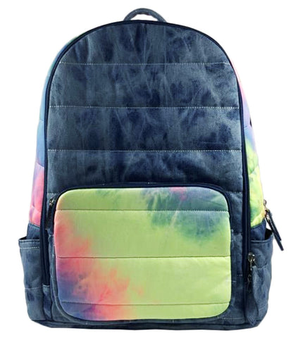 Bari Lynn Neon Tie Denim Dye Backpack
