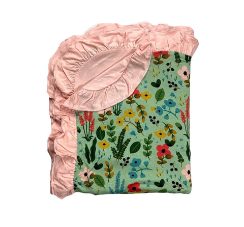 Kozi & Co Le Jardin Ruffle Double Layer Blanket