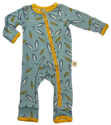 Kozi & Co Hello Bunny Ruffle Zipper Coverall