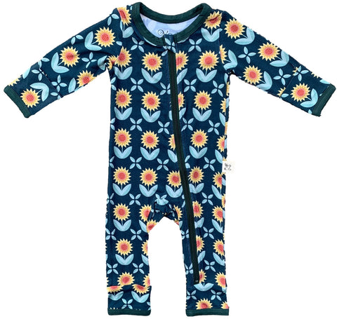 Kozi & Co Sunflowers Coverall with Zipper Basically Bows & Bowties