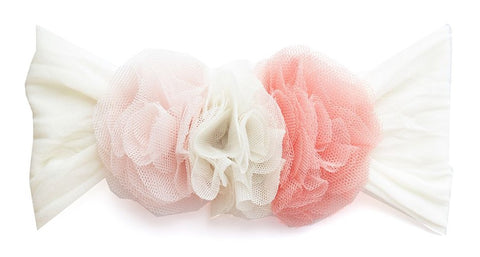 Baby Bling Triple Mesh Flower Headband-Peach/Ivory/Coral - Basically Bows & Bowties