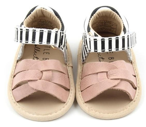 Little Bipsy Isla Sandals-Blush & Black Stripe