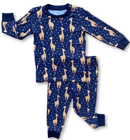 Kozi & Co Midnight Giraffe L/S Pajama Set with Pants