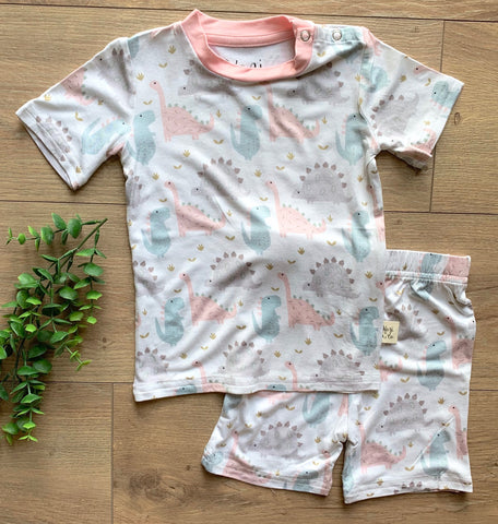 Kozi & Co Pink Dinos S/S Pajama Set with Shorts