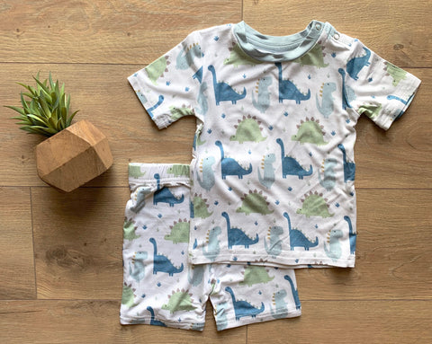 Kozi & Co Blue Dinos S/S Pajama Set with Shorts
