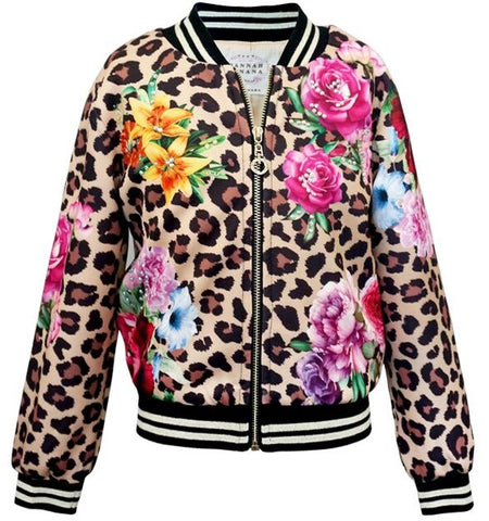 Hannah Banana Leopard Floral Bomber Jacket Basically Bows & Bowties
