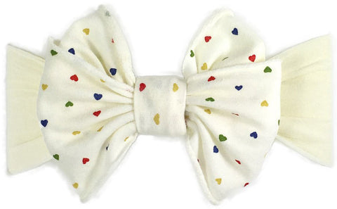 Baby Bling Rainbow Heart Ivory Jersey Bow Headband - Basically Bows & Bowties