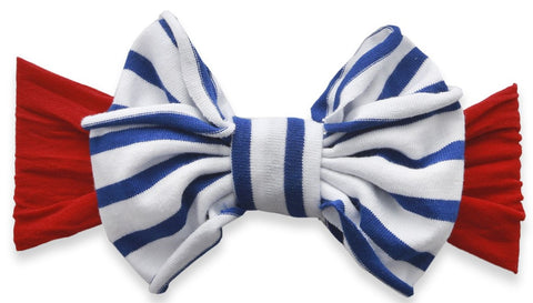 Baby Bling Cherry with Royal Stripe Jersey Bow Headband - Basically Bows & Bowties
