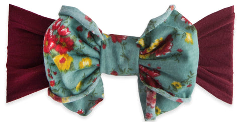 Baby Bling Burgundy Sage Floral Jersey Bow Headband - Basically Bows & Bowties