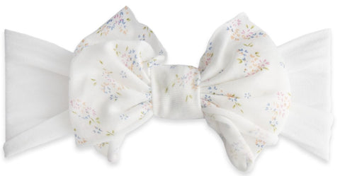 Baby Bling White Floral Jersey Bow Headband - Basically Bows & Bowties
