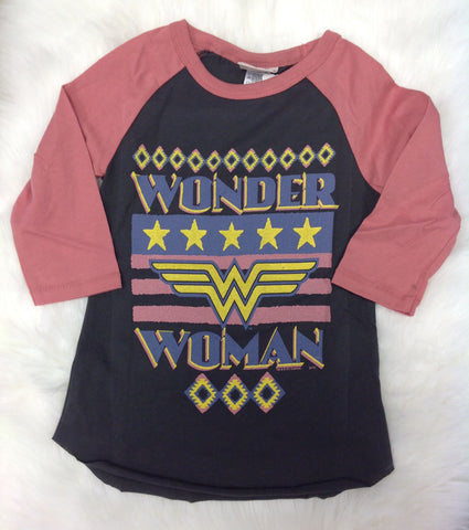 Junk Food Clothing Co Wonder Woman Raglan Tee - Basically Bows & Bowties