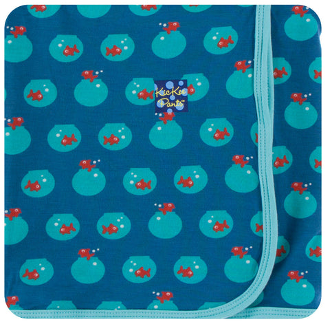 KicKee Pants Twilight Fish Bowl Print Swaddling Blanket
