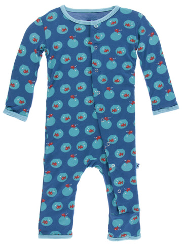 KicKee Pants Twilight Fish Bowl Fitted Coverall w/Zipper
