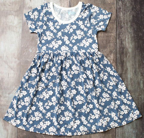 Bestaroo Indigo Floral Short Sleeve Dress