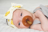 Baby Bling Chicks w/Ivory Pom Trimmed Knot Headband - Basically Bows & Bowties