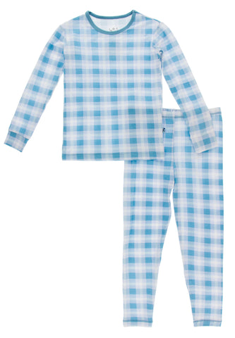 KicKee Pants Blue Moon 2020 Holiday Plaid L/S Pajama Set
