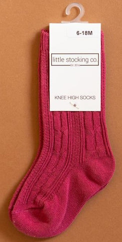 Little Stocking Co Raspberry Knee High Socks Basically Bows & Bowties